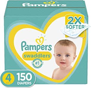 Diapers Size 4, 150 Count - Pampers Swaddlers Disposable Baby Diapers, ONE MONTH SUPPLY