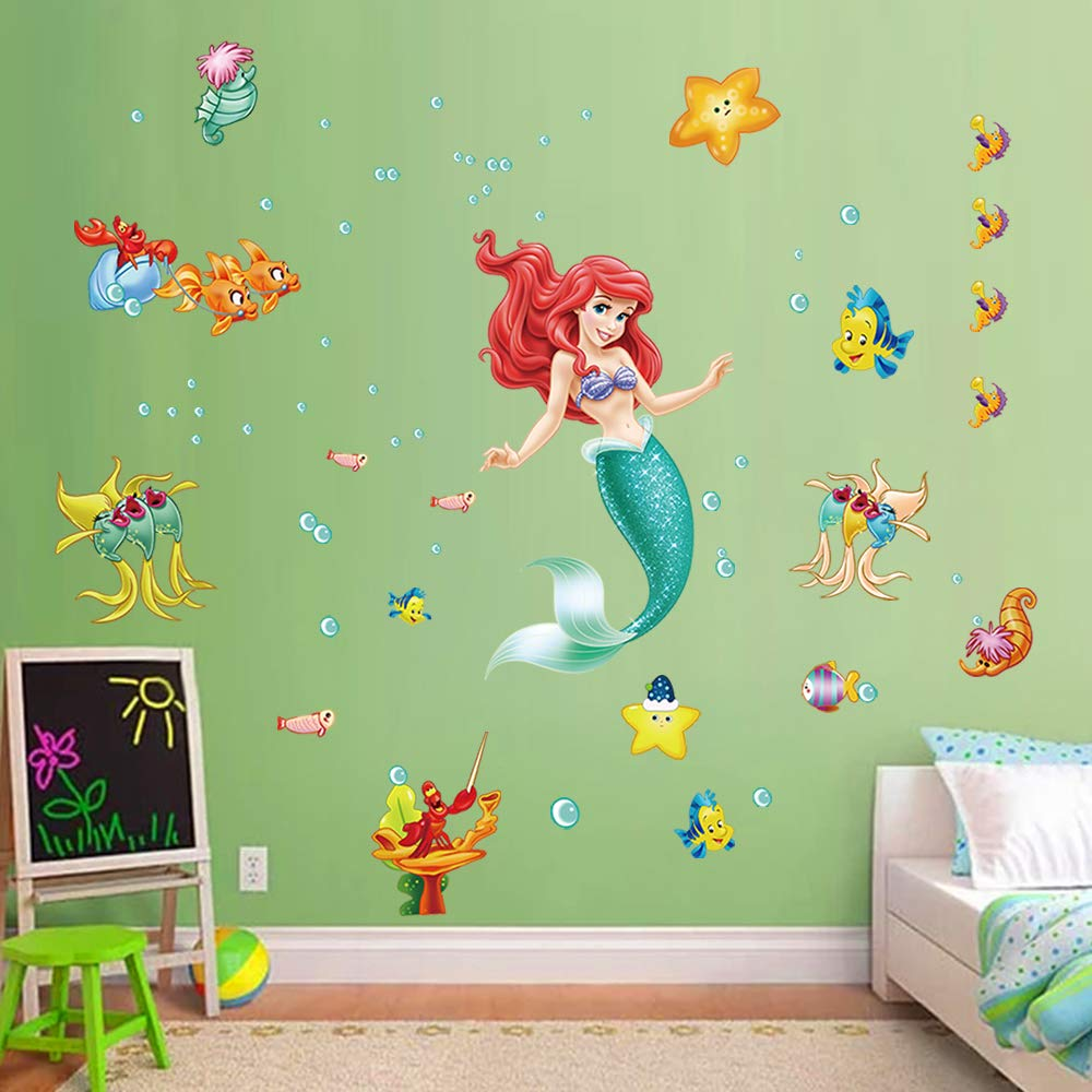Amazon.com: decalmile The Little Mermaid Ariel Wall Stickers ...