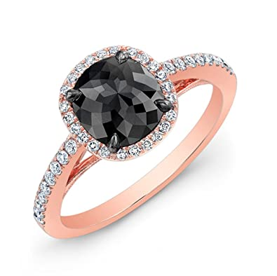 14K Rose Gold Black Diamond Engagement Ring