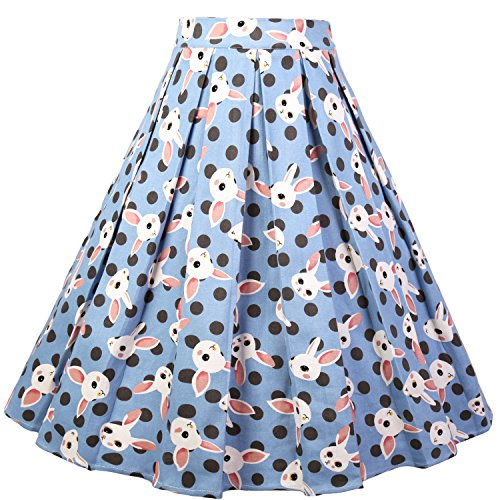 635cbb1a7 Dressever Women's Vintage A-line Printed Pleated Flared Midi Skirts - Buy  Online in Oman. | Apparel Products in Oman - See Prices, Reviews and Free  Delivery ...