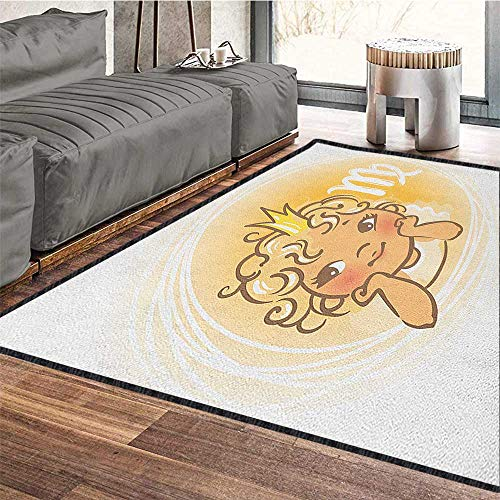 Virgo Polyester Area Rug Mat,Baby Zodiac Representation Cute Little Girl with A Crown Angel Cartoon Waterproof and Easy Clean Pale Orange Yellow White 71