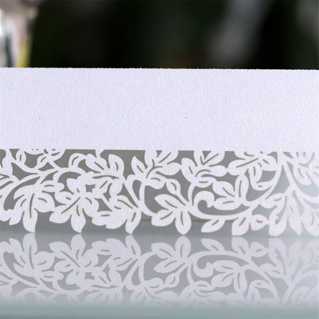 Rose Set Invit/é Mariage Nom Lieu Cartes en Forme De Feuille Artisanat Couper Les Num/éros De Table De Place Place Kissherely 50Pcs