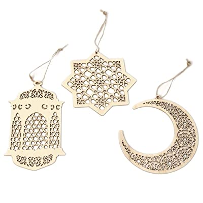 Islam Eid Ramadan Mubarak Hollow Decorations Wooden Golden Hanging Lantern Baubles Festive DIY Home Decorations: Toys & Games
