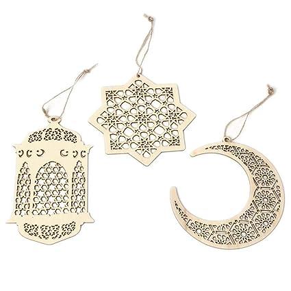 Mubarak Ramadan Wooden Decoration Muslim Islam Eid Party Supplies Moon Star Wood Plaque Hanging Pendant Decoration Lights & Lighting