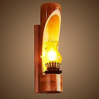 nblyl rústico Lámpara de pared sencilla lámpara pared madera cristal iluminación de pared para dormitorio dormitorio Escalera Aisle Veranda E14 (sin fuente de luz): Amazon.es: Iluminación