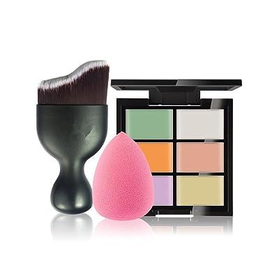 Gracelaza 1 Pcs brochas de maquillaje, 1 Esponja Fundación Puff + 6 Colores Corrector Camuflaje Paleta de Maquillaje Cosmética Crema, #1