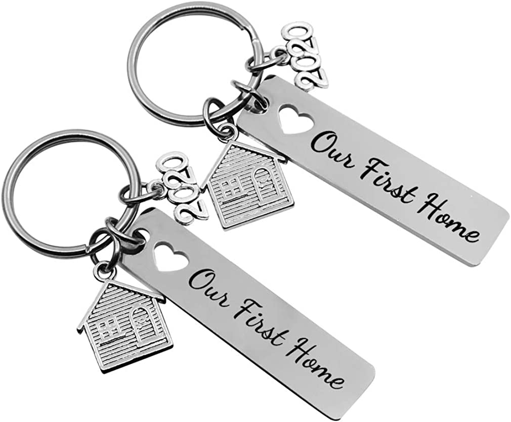 JUPPE New Home Keychain Housewarming Gift for New Homeowner Personalized House Keyring Moving in Key Chain New Home Owners