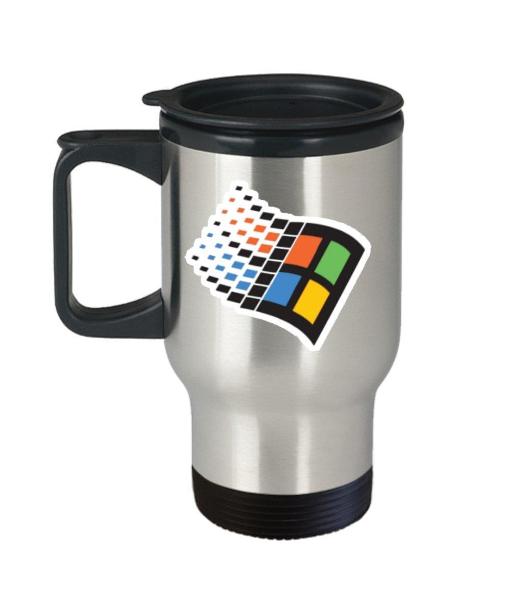Windows 95 Retro Logo Coffee Mug Cup (Travel) 16oz Mircosoft Computer Science Nerd Gifts Poster Shirt Merchandise Accessories Decal Decor Pin