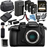 Panasonic Lumix DC-GH5S Mirrorless Micro Four Thirds Digital Camera + Panasonic DMW-BGGH5 Battery Grip + DMW-BLF19 Lithium Ion Battery + External Rapid Charger + 128GB SDXC Card + Carrying Case Bundle