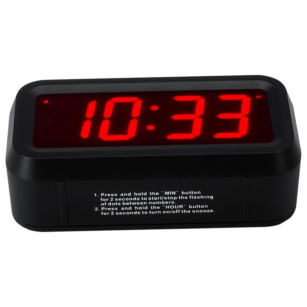 Schwarz Timegyro Kleiner LED-Digitalwecker mit gro/ßem Display Tischuhr mit Tischuhr