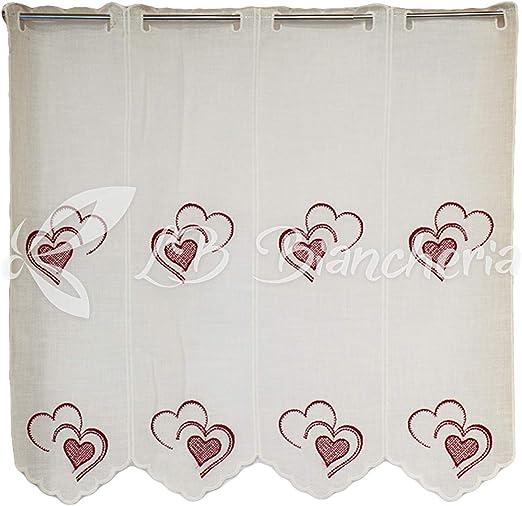RP r.p. PAR de visillos Cortinas Bordadas Corazones Heart – 100% Algodón Made in Italy – 45 X 150 cm. – Burdeos: Amazon.es: Hogar