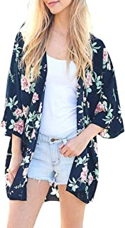 Timoon Women Chiffon Shawl Floral Print Kimono Cardigan Top Cover Up Blouse Beachwear