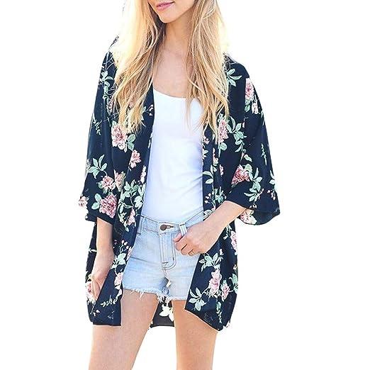 32372c6ab9d52d Towallmark Women Boho Floral Printed T-Shirt Chiffon Beach Shawl Kimono  Long Cardigan