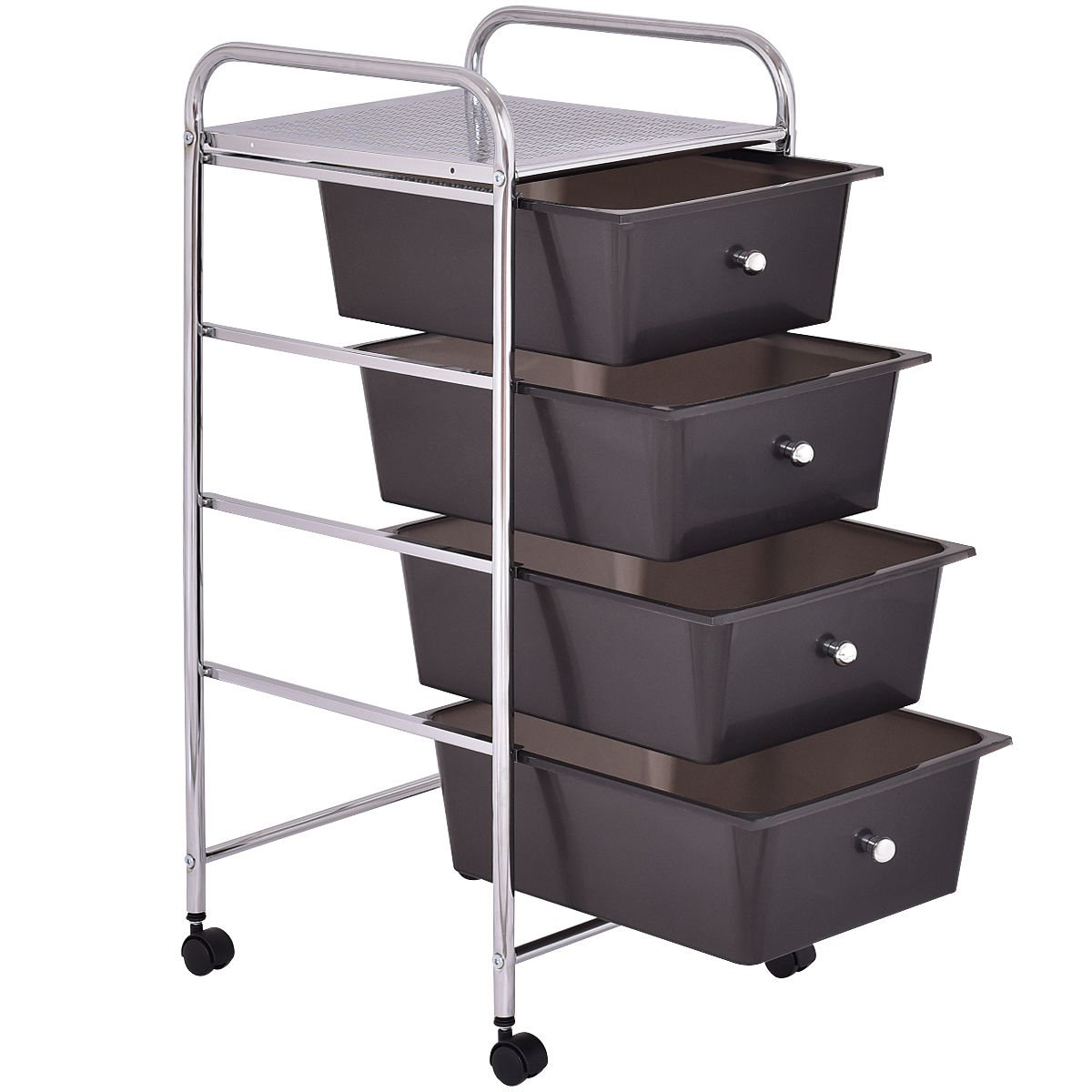 Chrome Black Trolley Organizer Rolling Cart Studio Storage w/ 4 Drawers