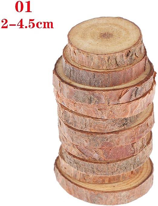 Discos de c/írculos Troncos sin terminar decoraci/ón de Pared de Boda Manualidades 2-4.5cm Decoraciones de Madera para Bricolaje Amnixo 10 Piezas de rodajas de Madera Natural