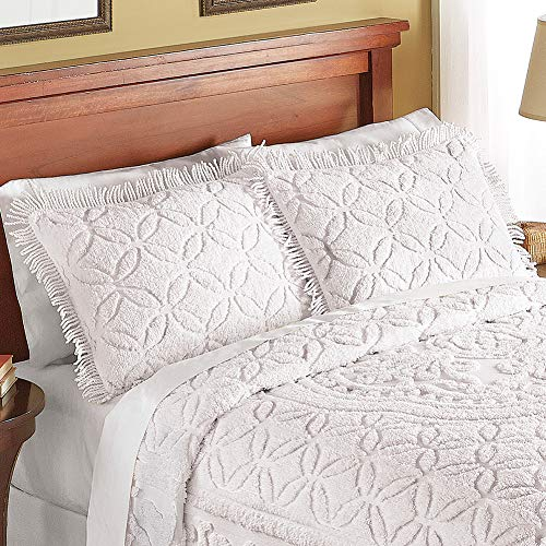 Collections Etc Victoria Plush Chenille Ring-Style Fringe Pillow Sham, Ivory, Sham ()