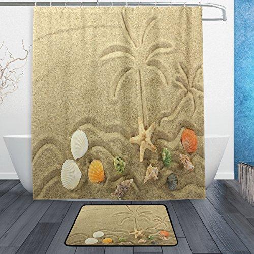 (WOZO Sand Beach Palm Tree Starfish Summer Polyester Fabric Bathroom Shower Curtain 60 x 72 inch with Hooks Modern Bathroom Doormat Rug 23.6 x 15.7 inch)