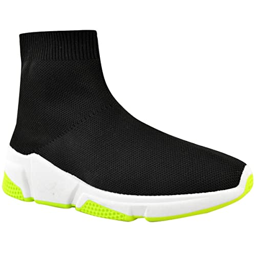 2b4520ce288c6 New Womens Ladies Sneakers Trainers Sock Runners Comfy Speed Knit Gym Shoes  Size Black Green
