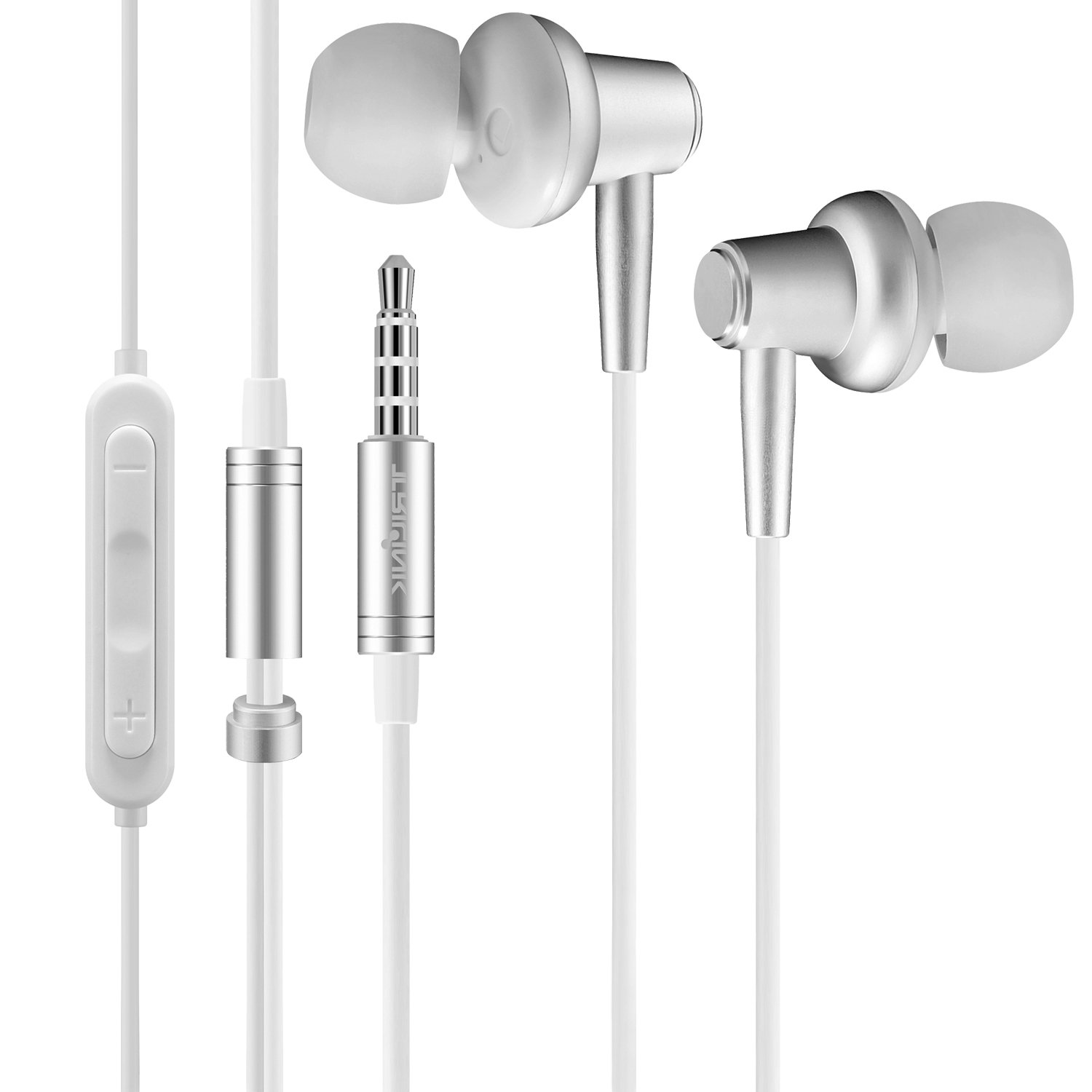 TriLink Metal Earbud Headphones, Wired In-Ear Noise Cancelling Earphones with Mic and Volume Control (White)