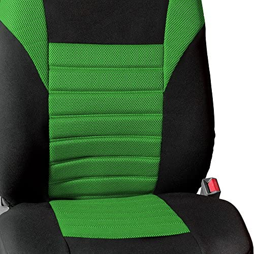 FH Group FB068GREEN102 Green-Half Universal Bucket Seat Cover Premium 3D Air mesh Design Airbag Compatible
