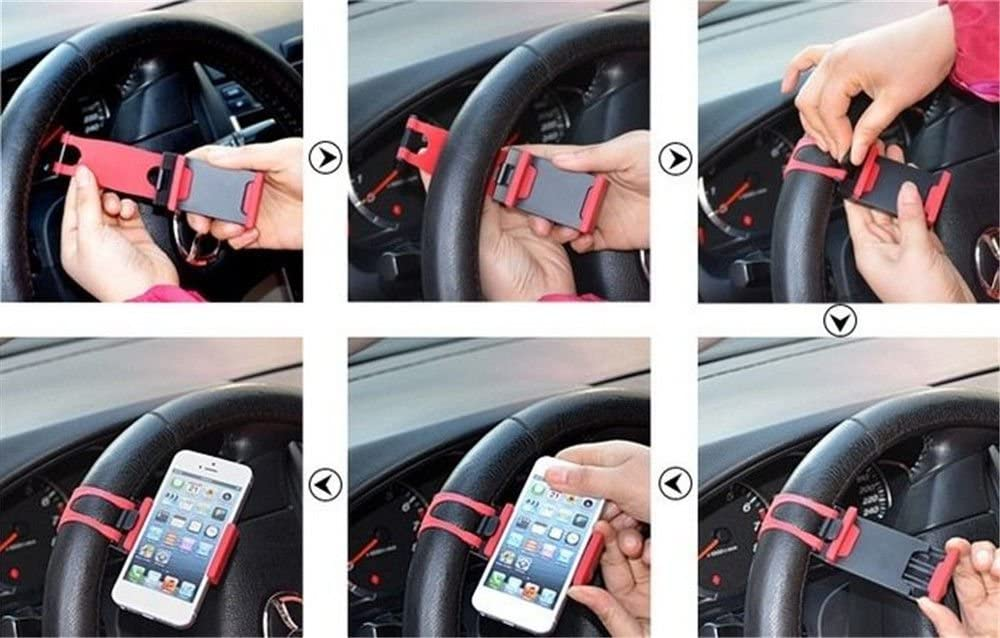 2 Packs iPhone 7 6 6S 5 5S 5C SE,Samsung Galaxy,Note and Tablet MP4 GPS - Red Car Mount,Car Steering Wheel Mount Holder for Most Phones