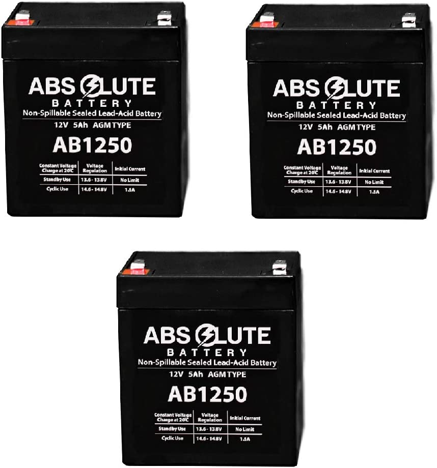 3 Pack New AB1250 12V 5AH SLA Replacement Battery for BELKIN F6H375 USB UPS