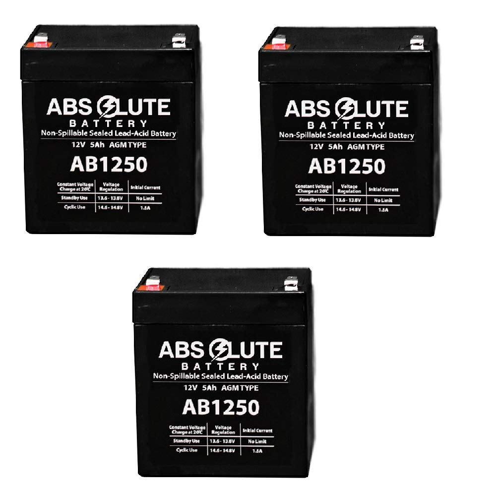 3 Pack New AB1250 12V 5AH SLA Battery for Liebert PowerSure Personal PSP 300 by Absolute Battery