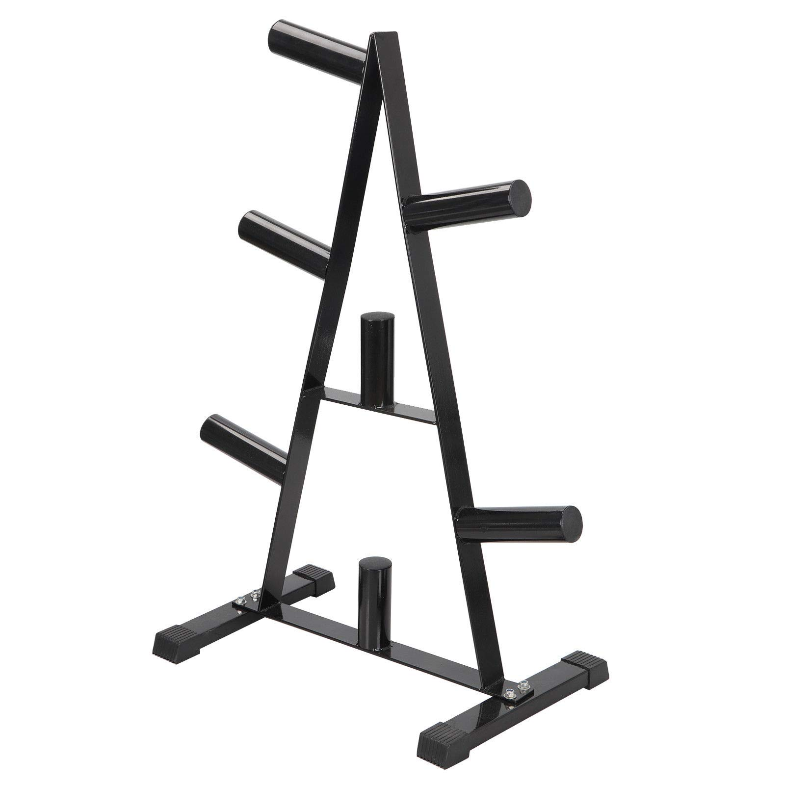 Heavy Duty Triangular Design Olympic Weight & Storage Rack Easy Storage Workout Space Organized Gym Fitness Strength Training Exercise Weight Capacity of 400 LBS Ideal For Home Or Professional Gym Use by Precioso