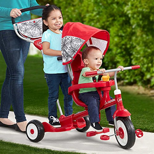 4-In-1 Radio Flyer Deluxe Ride & Stand Stroll 'N Trike, Designed for 2 - Ride Trike