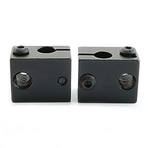 Ruiling 2PCS Black E3D V6 Extruder Aluminum Heat Block Sandblasting Oxidation Treatment Heater Block 3D Printer Parts