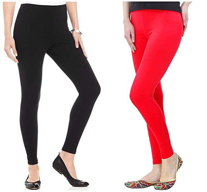 7a275d49879eef FashGlam Women's Cotton Ankle Length Leggings Combo (Black and Red, Free  Size): Amazon.in: Clothing & Accessories