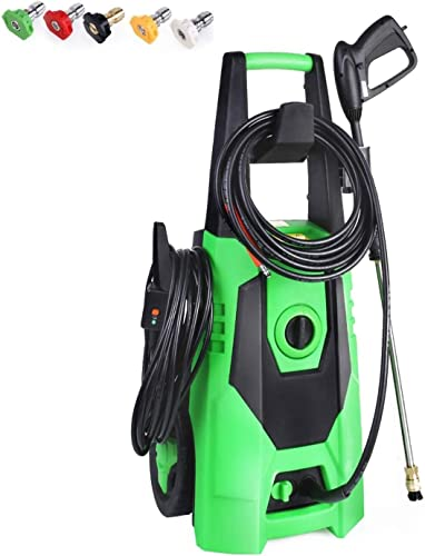 TubyTime 3000 PSI Electric Pressure Washer, 1.8 GPM 1800 W Portable High Power Washer with Spray Gun, 5 Adjustable Nozzle, Hose and Soap Bottle Best for Car, Garden, Patios and House Dark Green