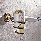 Leyden Wall Mount Antique Brass Carved Vine Spiral Shape Hair Dryer Holder
