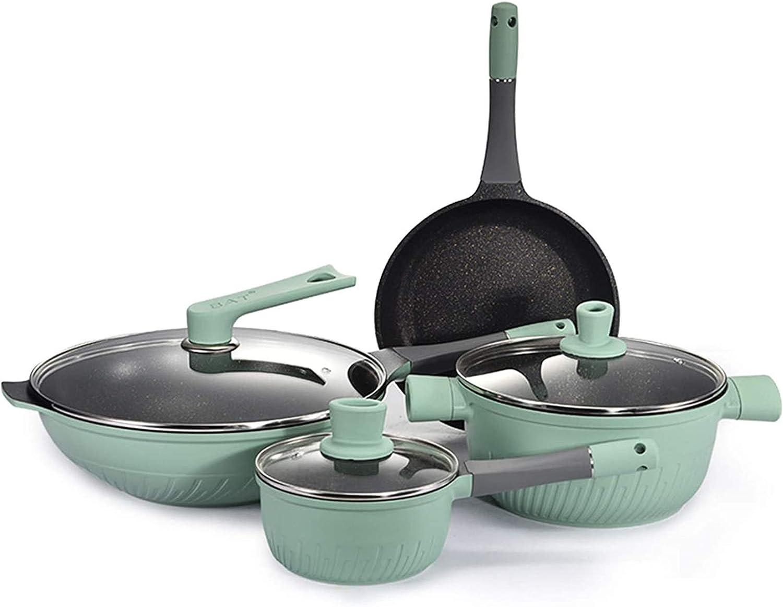 Pans for cooking Cookware Set Soup Pot Frying Pan Wok Milk Pot Kitchen Cooking Pot Set Induction Cooker NonStick Pan Saucepan Casserole Hotpot,Green (Color : Green)