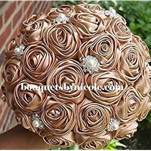 Made to order Brooch Bouquet Wedding Bridal Flowers Satin Roses Bride Bridesmaids EMR- 911 47
