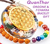 Orgone Pendant Energy Accumulator Flower Of Life (BONUS emf protection Bracelet 7 chakras) 528Hz Frequency OM Chants Orgonite Radiation Protection necklace 1.4 inch