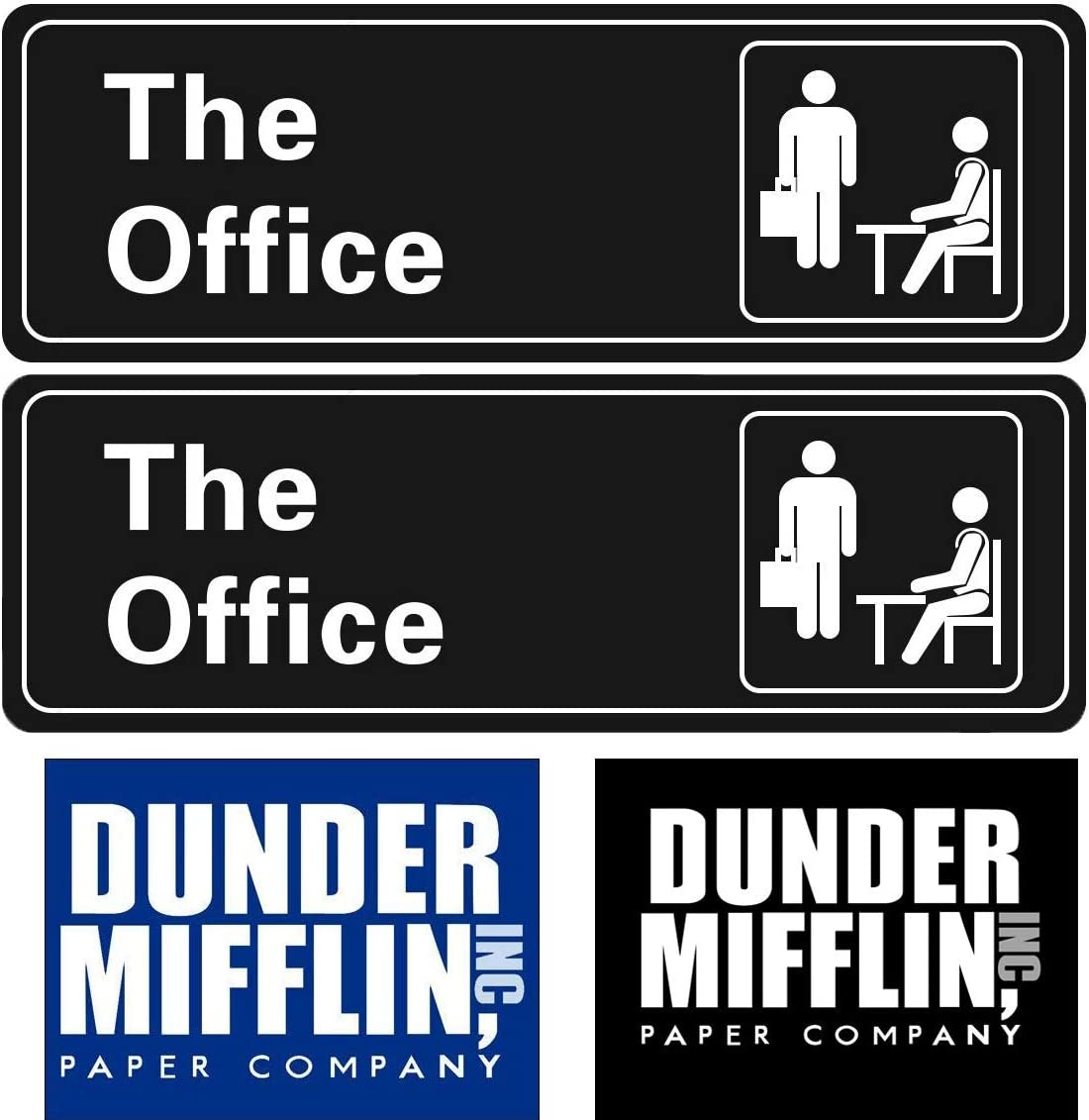 The Office Sign Stickers (4 PC/Pack), Dunder Mifflin Self Adhesive Signs for Door or Wall 9 X3, 4 X 3 Quick and Easy for Your Home Office/Business, Car, Fridge, Door, Luggage