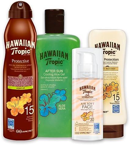 Hawaiian Tropic PACK Piel Morena - Kit con Aceite Seco Bruma SPF 15 + Crema Satin Ultra Radiance SPF 15 + Crema Solar Silk Hydration SPF 30 + Gel Aloe Vera Aftersun: Amazon.es: Belleza
