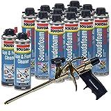 Soudal Kit, 12 Cans All Season Window & Door Foam, AWF Pro Foam Gun, 2 Gun & Foam Cleaners