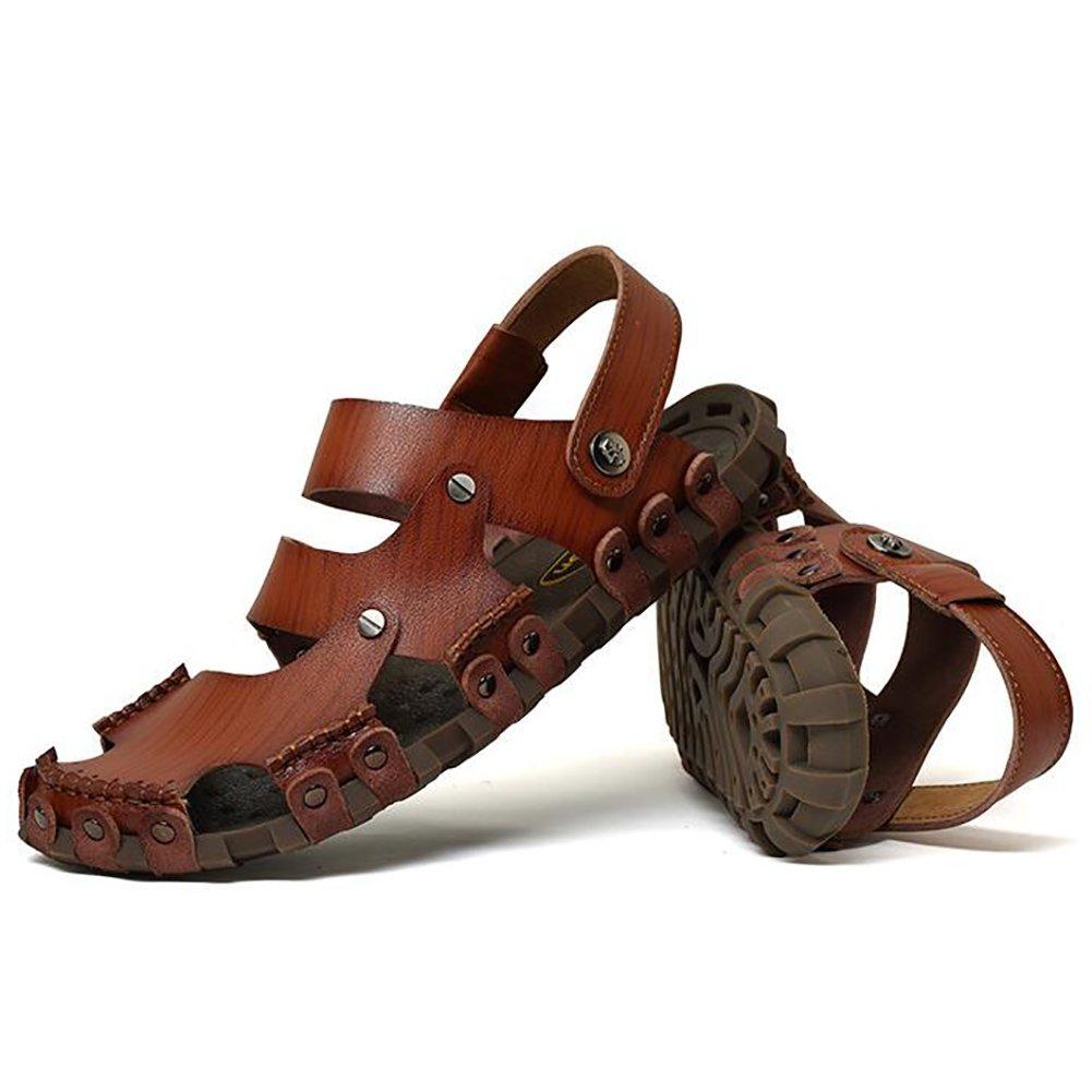 ZJM- Summer Man Slipper Sandal Beach Shoes Zapatos cerrados de cuero genuino antideslizantes con diseño cerrado Zapatos de pescador Vintage (Color : Marrón, Tamaño : 41) 41 Marrón