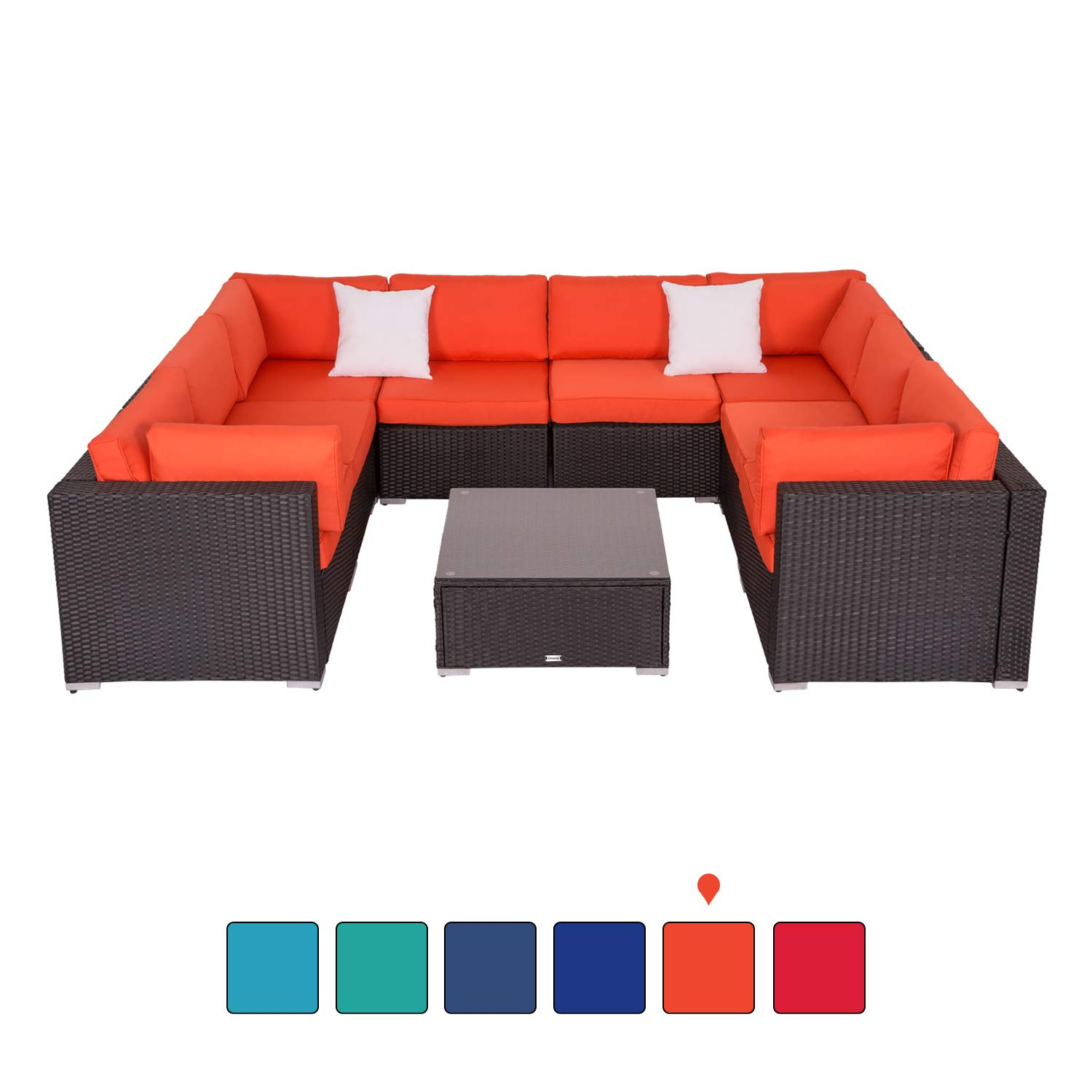Peach Tree 9 PCs Outdoor Patio PE Rattan Wicker Sofa Sectional Furniture with 2 Pillows and Tea Table