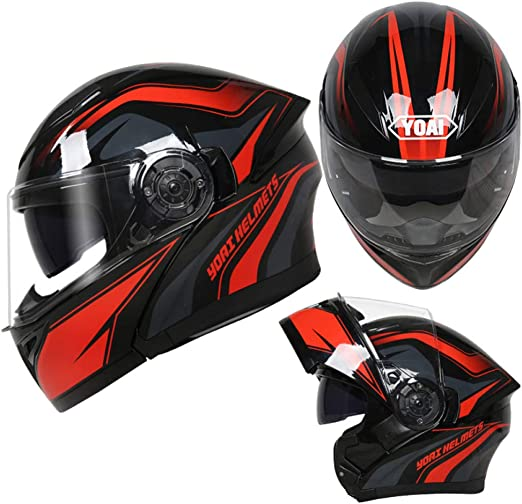 shuhong Cascos De Moto Full Face Flip Up HD Doble Lente Casco ...