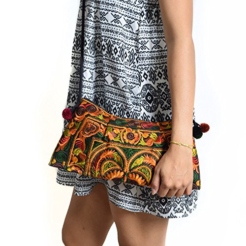 Pom With Poms Shoulder Hmong Swingpack Golden Bag And Clutch Body Boho Bird Cross Hill Embroidered Lanna Design Tribe Purse adPqxvPTw