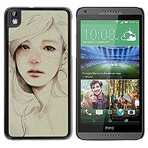 For HTC DESIRE 816 Case , Painting Sad Depression Woman - Diseño Patrón Teléfono Caso Cubierta Case Bumper Duro Protección Case Cover Funda