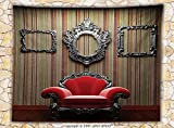 Antique Decor Fleece Throw Blanket Wall and Chair Vintage Picture Frame Vertical Striped Background Timber Floor Throw