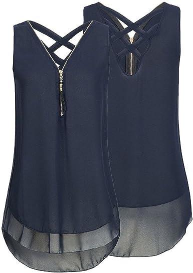 Riou - Blusas y Camisa de Gasa Mujer Primavera Elegante Estampado Cuello en V Cremallera Estampado Sexy Moda Tallas Grandes Blusa Top Camisetas: Amazon.es: Ropa y accesorios