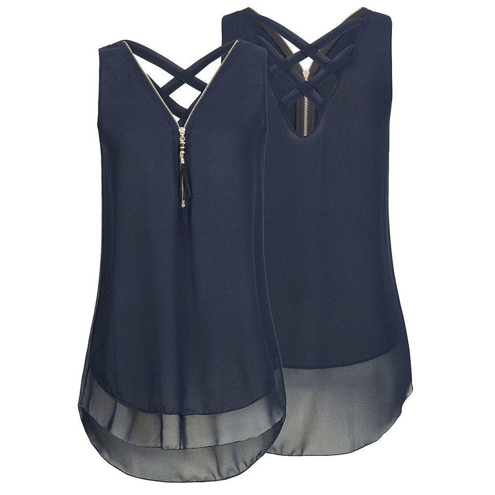 UJUNAOR T-Shirt Donna,Magliette Senza Maniche in Chiffon con Scollo a V Maniche Lunghe con Scollo a Cerniera per Donna,S,M,L,XL,2XL
