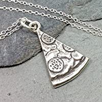 """Pizza Slice Charm Necklace - 925 Sterling Silver, 18"""""""