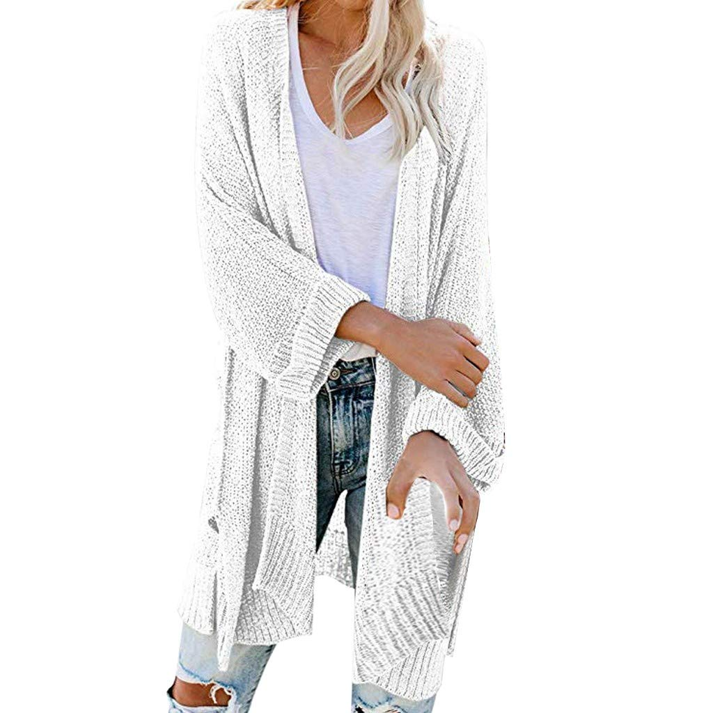 SturrlyWomen's Casual Open Front Long Sleeve Knit Cardigan Sweater Coat with Pockets White by Sturrly