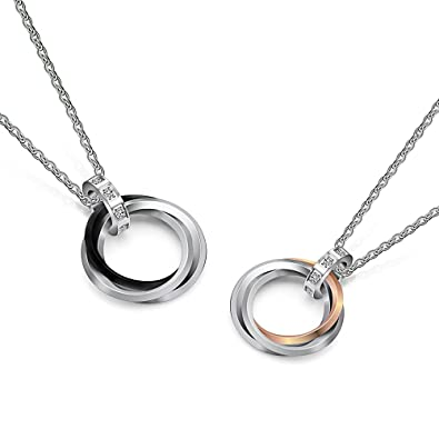 f6859e207b Uloveido His and Hers Titanium Triple Circles Paired Matching Necklace - 3  Rings Pendant Unisex Necklaces for Couples Black Gold Silver Color  TN053-Couple ...